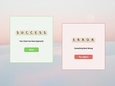 DailyUI 011 dailyui11 daily 100 challenge ux minimal design dailyuichallenge success error