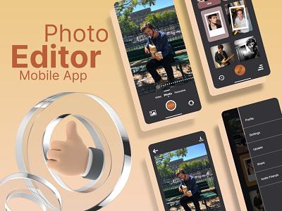 Photo Editor Mobile App typography uiuxdesign uiux vector illustration uidesign icon ui design app