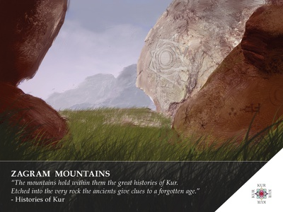 Kur - Zagram Mountains Location 3 story kur game design digital painting landscape card art