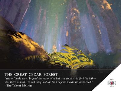 Kur - The Cedar Forest -  Location 1 story kur game design digital painting landscape card art
