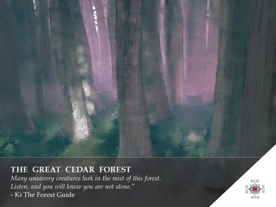 Kur - The Cedar Forest - Location 3 story kur game design digital painting landscape card art illustration forest