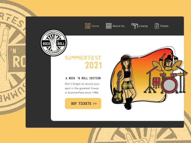 Daily UI : 003 - SummerFest 2020 trend festival vector art vector illustration drums music guitar rock and roll vector branding 003 web ui uiux minimal illustration design dailyuichallenge dailyui daily 100 challenge