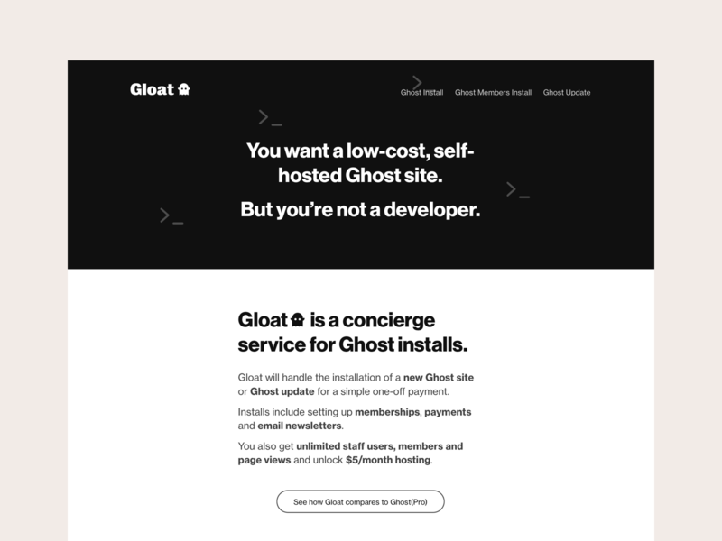 Gloat homepage marketing blog landing homepage ghost productized