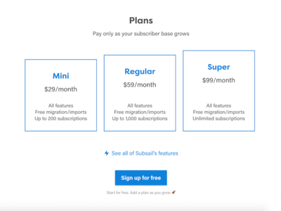 Subsail plans pricing plans blue marketing subsail