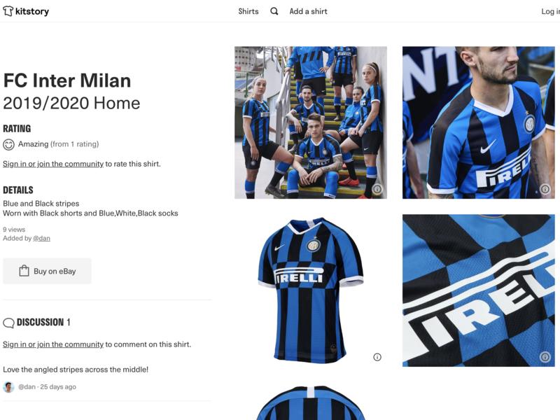 Shirt page on kitstory.co data ui layout soccer jersey shirts football