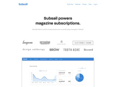 New homepage marketing magazines saas homepage landing subsail