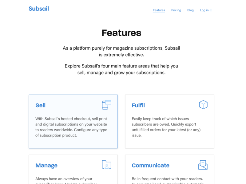 Updated Features page design icon blue marketing magazines subsail
