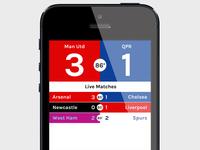 Football score app concept: matches list