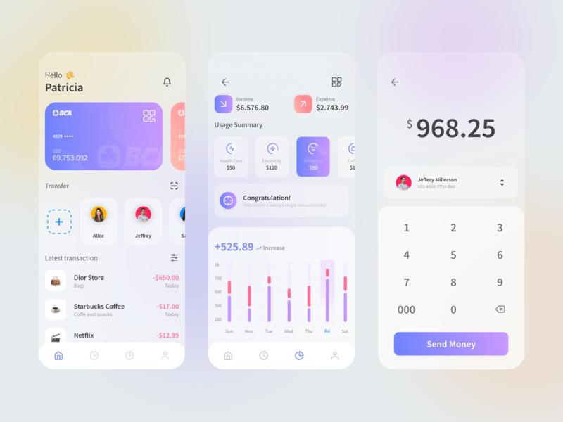 Mobile Banking UI Design Concept financial management uidesigns finance app ewallet money app mobilebanking glassy uiux ux ui