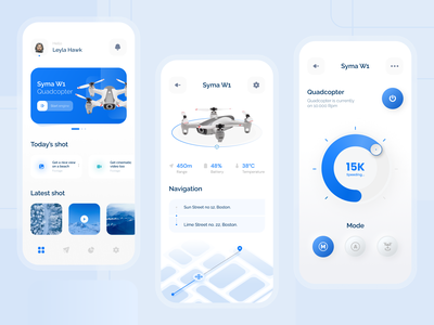 Flyin' - Drone Controller Apps viewfinder drone flying controller future ios app design futuristic ui futuristic drone app blue and white clean ui ui uiux uidesigns