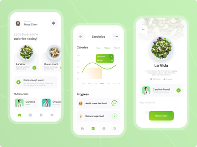 Healthfud - Diet Food Recipe Apps calories diet app clean ui green recipe app food app food ios uxdesign uidesign ui  ux uiux ui
