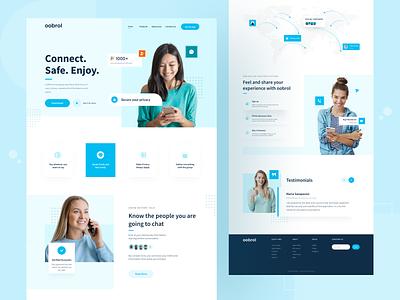 oobrol - New Chatting Platform Website minimal web design maps privacy blue and white blue cleanui chatting app socialmedia landingpage website design webdesign website web uiux uxdesign uidesign ux ui