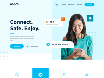 oobrol - New Chatting Platform Website minimal web design maps privacy blue and white blue cleanui chatting app socialmedia landingpage website design webdesign website web uiux uxdesign uidesign ux ui