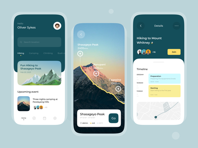 Hiking Apps UI Design Concept yellow green nature camping tracking mountain hikingapps hiking cleanui uiuxdesign uiux uxdesign uidesigns ux ui