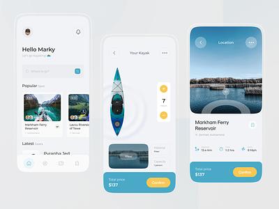 Kayak Renting Apps - UI Design Concept canoing apps vehicle rental vehicles rental app rental kayaking kayak advanture river yellow blue clean ui uxdesign uidesign uiuxdesign uiux ui