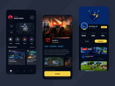 PlayZone - Game Center UI Kit social gaming game streaming livestream stream match detail dota dark mode tournament news uiuxd uxdesign uidesign uiux game ui apps game