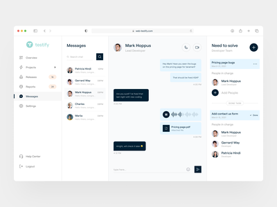 Testify - Issue & Bug Tracking Message uiux clean ui dashboard ui web apps messaging project management dashboard ui design ux ui
