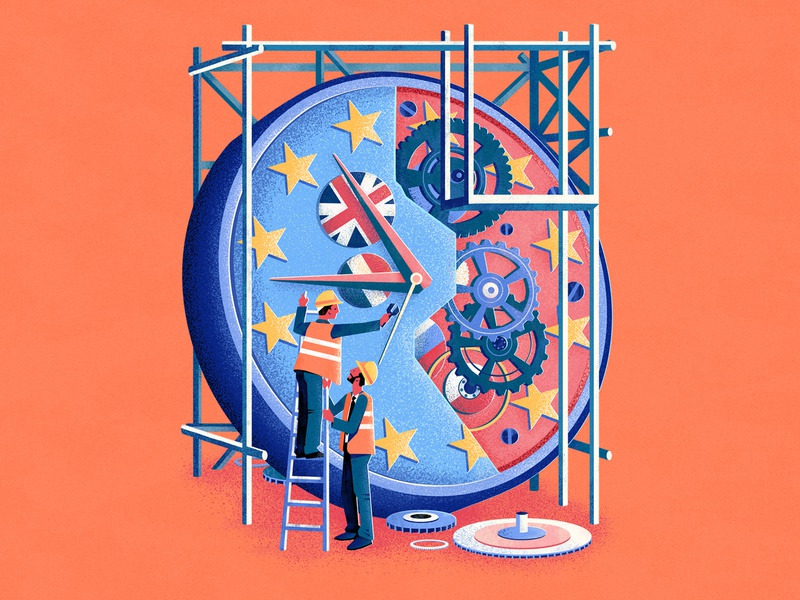 Let the Countdown Begin clockwork characterdesign construction eu countdown time clock editorial drawing graphic character vector texture illustration