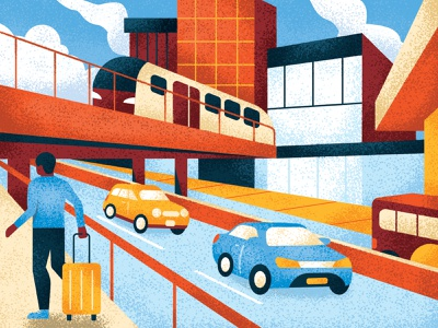Business Travel airports banking cars highways airplane travel business bright perspective digital painting editorial retro drawing graphic character vector texture illustration