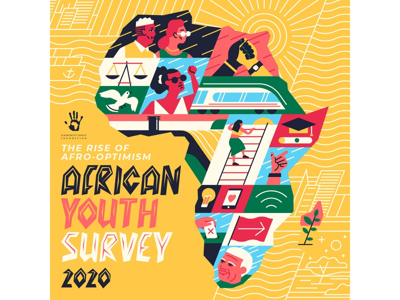 Afro-Optimism map growth justice transport characetrdesign hands united africa typography editorial retro drawing graphic character vector illustration