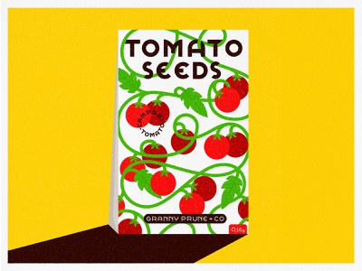 Campari Tomatoes bright vines pattern packaging seeds tomatoes typography vintage retro graphic vector texture illustration