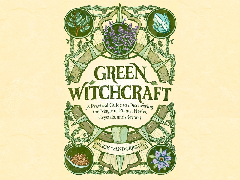 Green Witchcraft magic crystals tinctures herbs witchcraft lettering design typography editorial retro drawing graphic character texture illustration