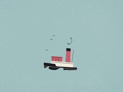 Shipshape container ship movement birds ocean cruiseliner boat ships gif animation 2d loop animation retro drawing graphic vector texture illustration