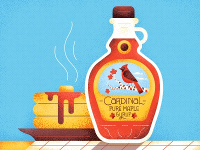 Cardinal Maple Syrup breakfast food butter flapjacks pancakes maple syrup maple tree lettering typography vintage retro graphic character vector texture illustration