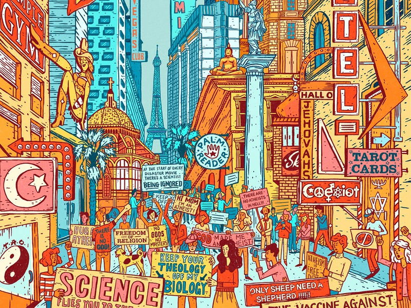Being Modern bright people cityscape atheist tarot characterdesign perspective buildings protest city palm reader drawing graphic character texture illustration