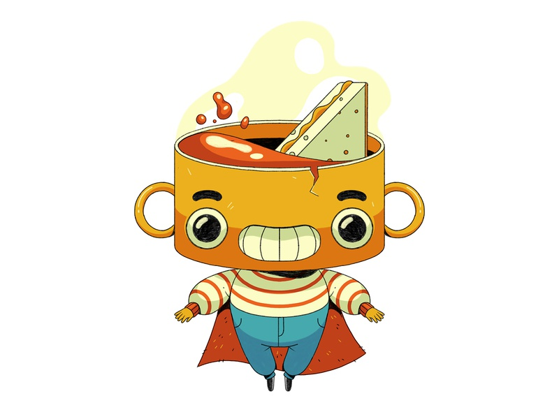 Souperman! winter seasonal food superhero toasted cheese characterdesign tomato soup soup drawing graphic character texture illustration