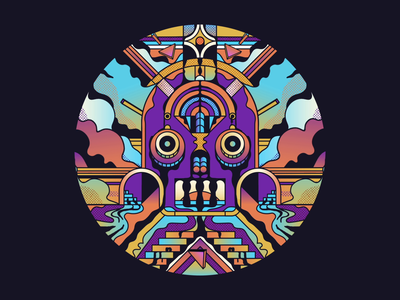 Another Dimension rivers bright 3d character design face trippy loop gif animation gradients retro graphic character vector texture illustration