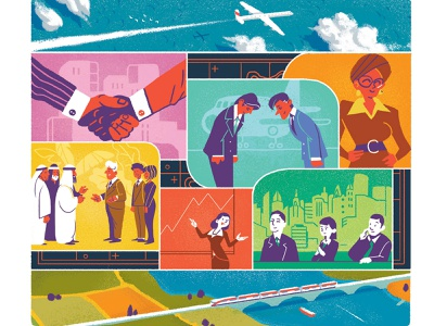 Foreign Affairs brushstrokes money business airplane travel train characterdesign bright editorial drawing graphic character texture illustration