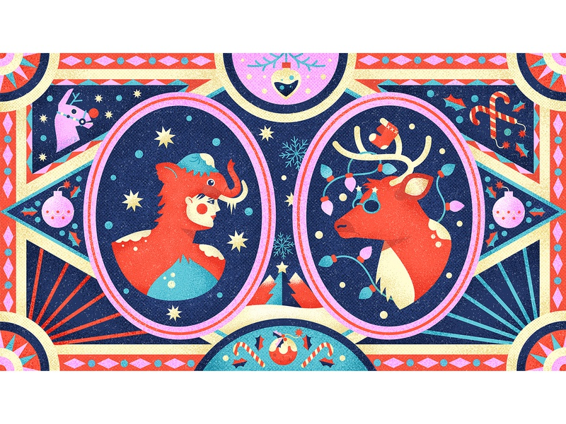 Winterfest borders winter seasons llama reindeer gaming fortnite drawing graphic character vector texture illustration