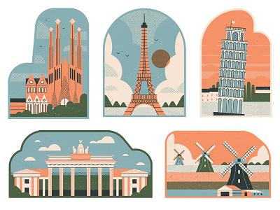 Citywire berlin italy barcelona paris amsterdam stylised dotscreen postcards landmarks travel editorial retro graphic vector texture illustration