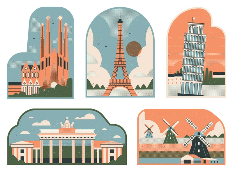 Citywire berlin italy barcelona paris amsterdam stylised dotscreen postcards landmarks travel editorial retro graphic vector texture illustration