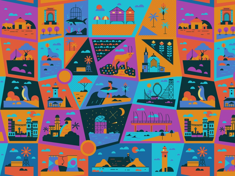 Places map sharks beach lighthouse pattern design travel cape town surfer big 5 coastal pattern retro graphic character vector illustration
