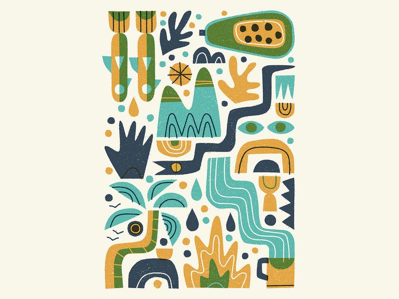 Wanderlust snake palm trees coffee leaves wanderlust mountains halftones flat retro graphic vector texture illustration