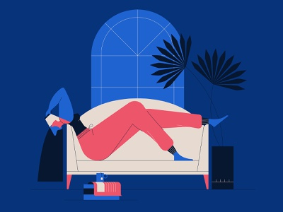 Cabin Fever! characterdesign cabin fever tea books plants couch inside isolation lady drawing graphic character vector illustration