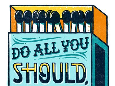 Matchbox typography african texture art matches hand drawn