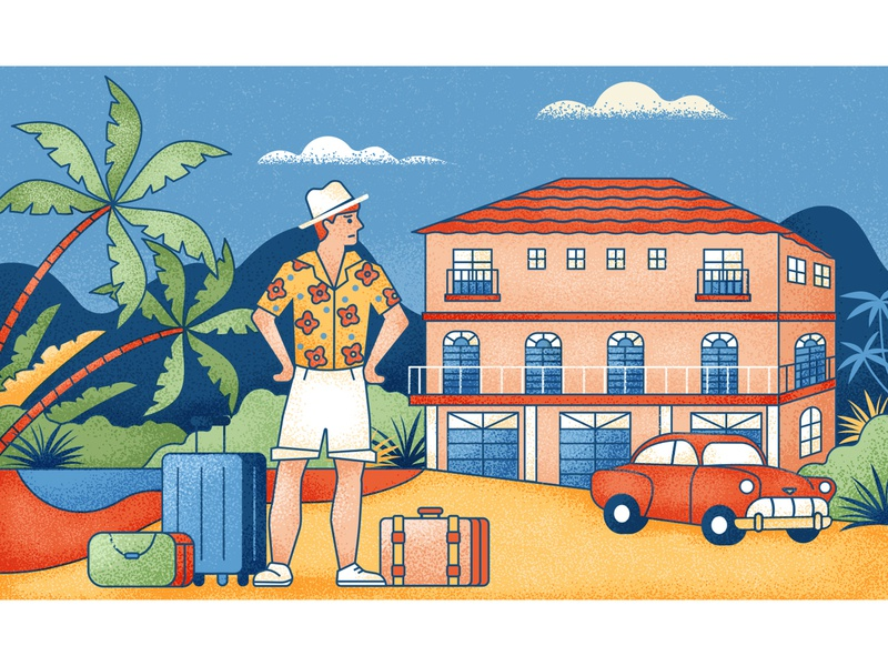 Hotel Cancellations characterdesign suitcase tourist palm trees hotel travel editorial graphic character vector texture illustration