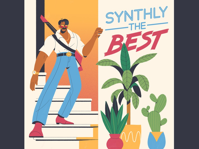 Synthly the Best perspective building foliage plants guitar succulants characterdesign synth vinyl lettering typography retro drawing graphic character texture illustration