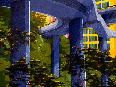 Escaping the City roads bridge cityscape city hongkong overpass buildings trees photoshop bruses retro drawing graphic vector texture illustration