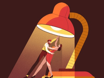 Love in the Lamplight ballroom dancing woman man gradients lamp tango couple dancing characterdesign drawing graphic character vector texture illustration