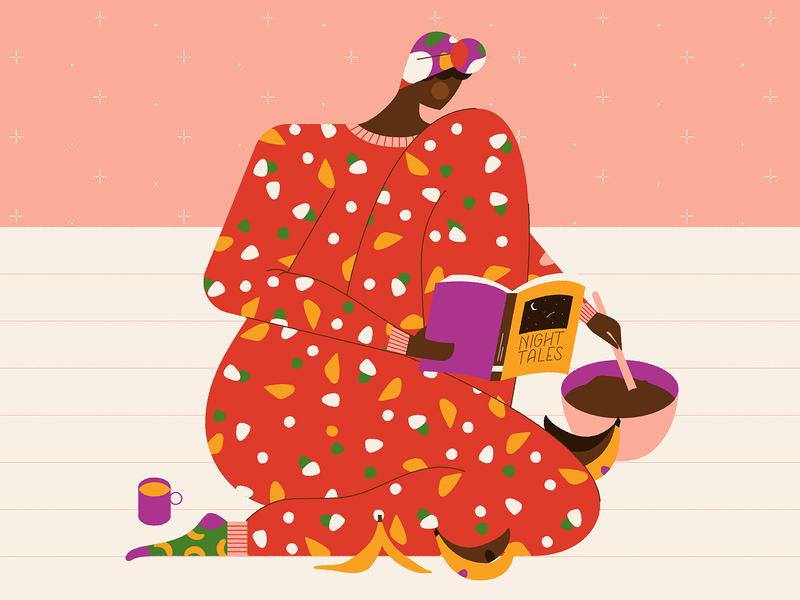 Midnight Baker 🍌 coffee lady woman banana bread banana characterdesign pajamas pattern baking typography flat retro graphic character vector illustration
