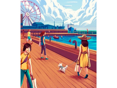 SHOP shopping helsinki clouds ocean boardwalk pier dog photoshop brushes characterdesign drawing graphic character texture illustration