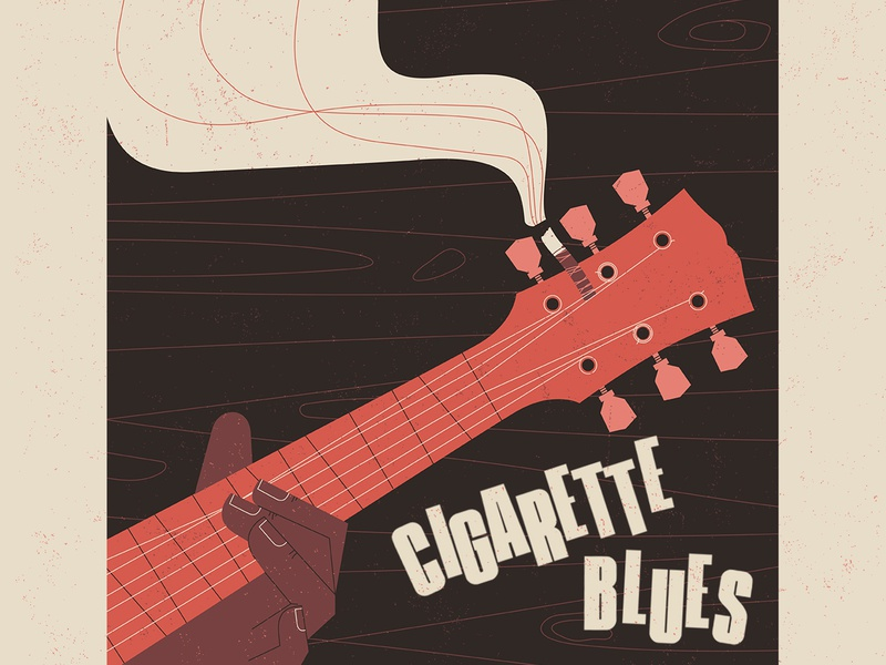 Cigarette Blues music characterdesign smoke cigarettes guitar lettering typography graphic character texture vector illustration