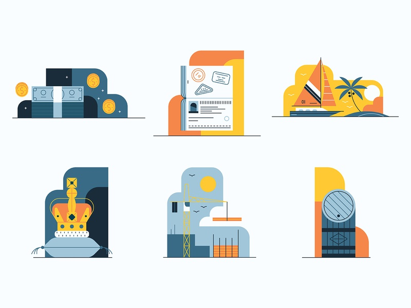 Knight Frank spot illustrations icondesign constuction ocean palm tree whiskey icons crown money cash property yacht editorial graphic vector illustration