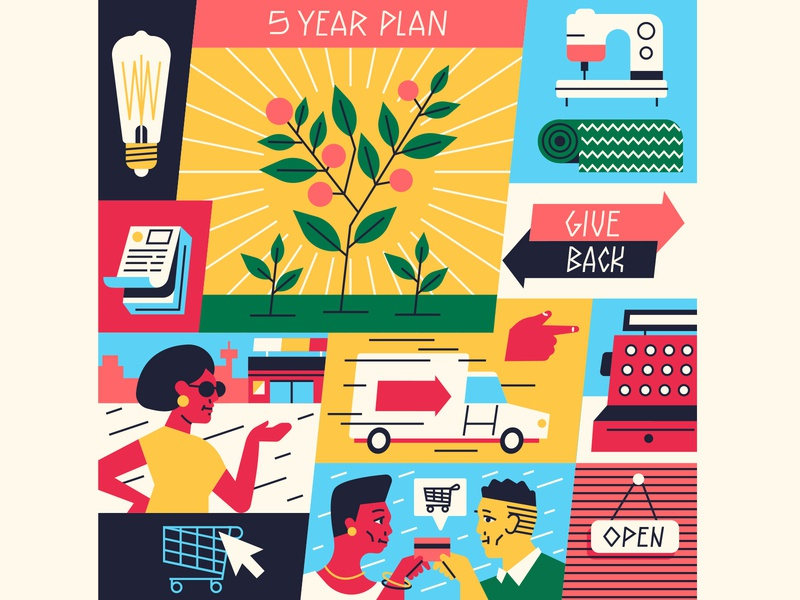 5 Year Plan shopping stores characterdesign cart money growth typography flat editorial graphic character vector illustration