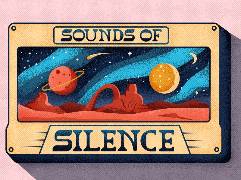 Sounds of Silence cassette galaxy stars night sky space planets lettering typography vintage retro drawing graphic vector texture illustration