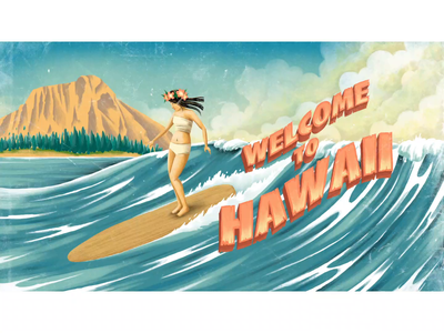 Riss surfing cel animation digitalpainting ocean motiongraohics animation typography vintage retro drawing graphic character illustration